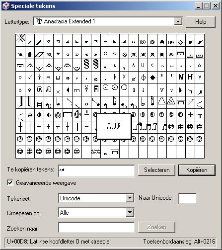 Dialoogvenster speciale tekens in Windows
